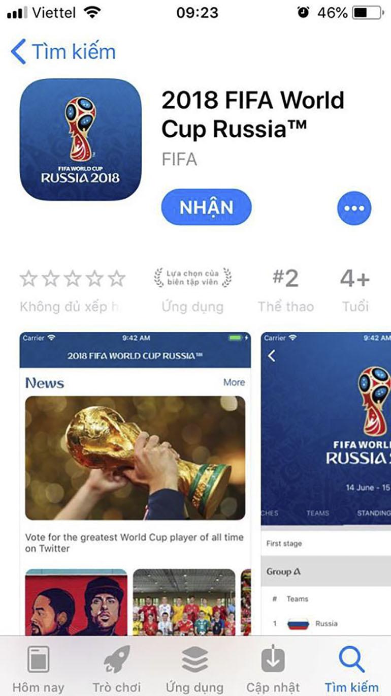 XemWorld Cup 2018 trên điện thoại bằng ứng dụng FiFa World Cup 2018