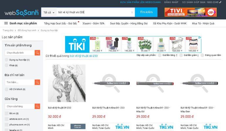 tính tới thời điểm này tháng 11/2018 thì Tiki đang bán bút line Artline giá rẻ nhất là 29.000 vnđ